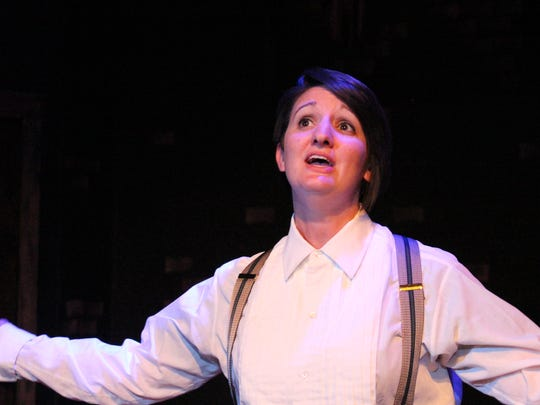 """Kristin Blodgett in disguise as a man so she can try to sell songs she's written from """"Hello! My Baby"""" opening this weekend at the Renner Theatre."""