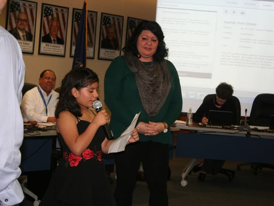 Student Jerelynn Herrera read a statement about how