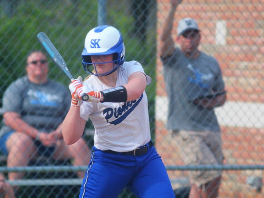 Simon Kenton junior Macy Krohman eyes a pitch in 2018. The Illinois commit is Northern Kentucky's only known Division I recruit.