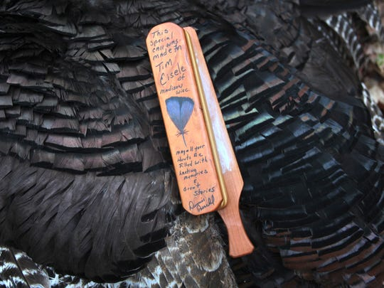 A turkey call made by the late Dennis Poeschel of Milwaukee was used by Tim Eisele of Madison to call in a gobbler during the 2018 Wisconsin spring turkey hunt.