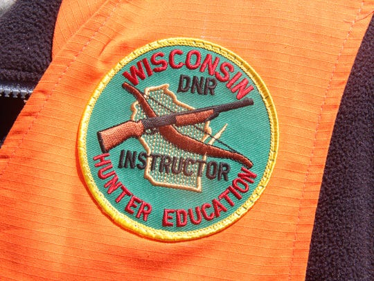 A patch worn by a member of the Wisconsin Hunter Education
