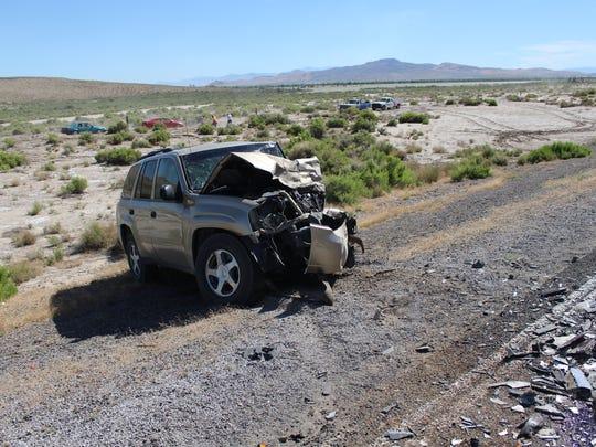 The tan 2006 Chevrolet Trailblazer SUV driven by Karen Garretson, 75, of Fallon. Garretson was killed in a head-on collision on Monday, June 4.