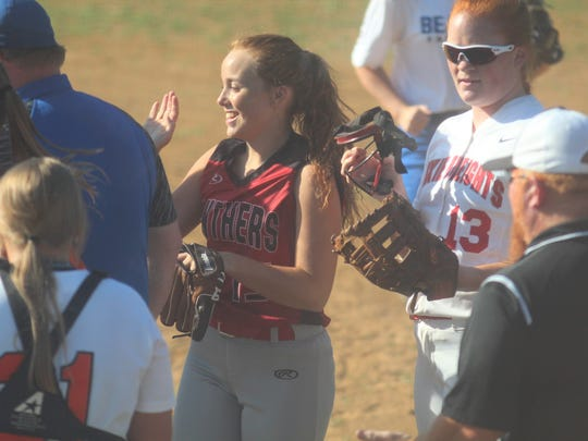 West teammates congratulate Ludlow junior Alexis Wyrick,