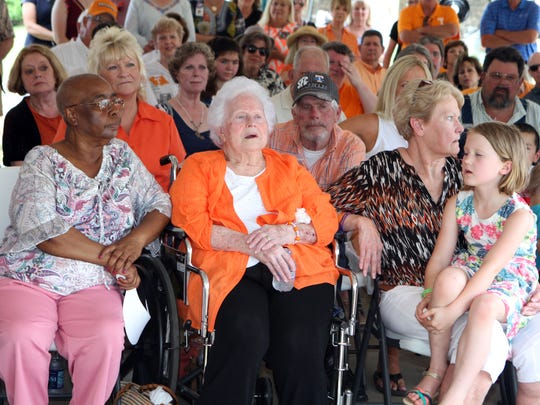 Hazel Head (Pat's mother) surrounded by family and friends at Friday's Pat Head Summit Legacy Plaza Dedication.