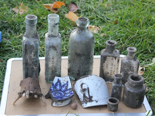 Artifacts found in Roosevelt Park during one of Wayne State University's digs in 2016.