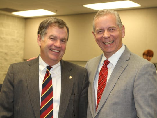 Councilman Bill Powers and incoming City Mayor Joe Pitts at a recent event.