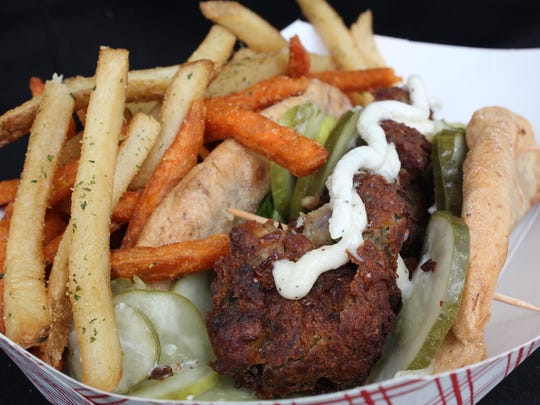 Falafel pita from Shimmy Shack. The owner of the food truck will open a brick and mortar restaurant at the end of this month.