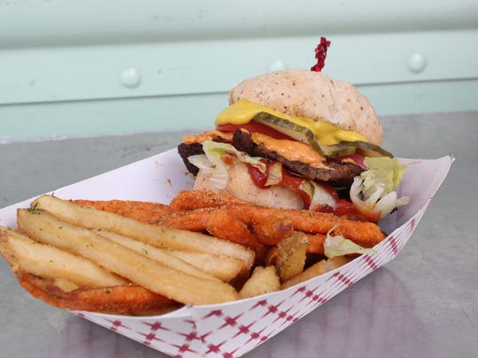 The vegan burger is the most popular menu item on the Shimmy Shack food truck. A brick and mortar location opens later this month in Plymouth.