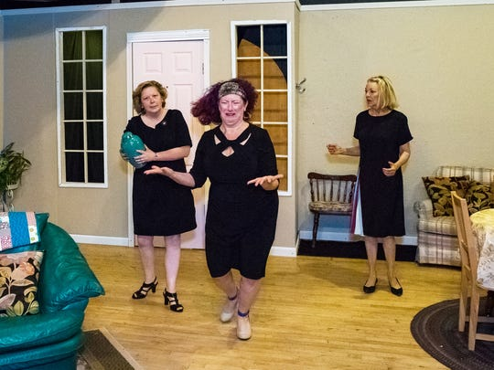 Leona (Laura Lingle, middle) freaks about about what she, Connie (Diana George, left) and Millie (Shannon Mahan) had to do to have their friend Mary with them for bridge night.