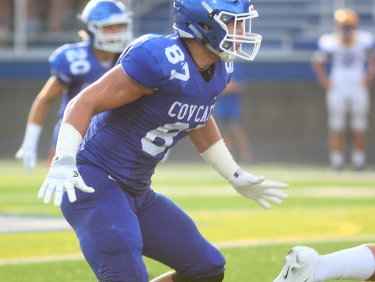 CovCath junior Michael Mayer at linebacker during a