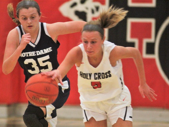 Notre Dame senior Lauren Rankin races up court as Holy