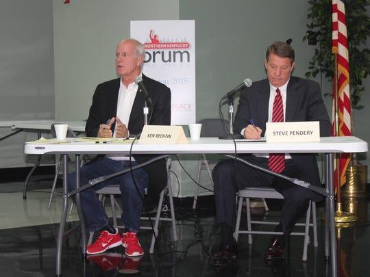 Democrat Ken Rechtin and incumbent Republican Steve Pendery debate at the Wilder city building earlier this fall.