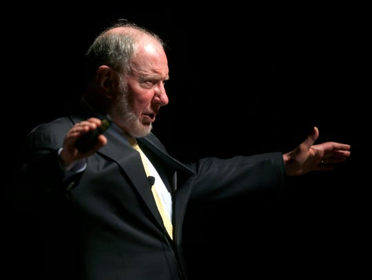 """Harvard University professor of Public Policy Robert Putnam speaks at Missouri State's Juanita K. Hammons Hall for the Performing Arts on Friday, April 8, 2016. Putnam will speak in """"Our Kids: The American Dream in Crisis"""" at the Rappaport Center at Temple Beit HaYam in Stuart on Tuesday, March 12."""