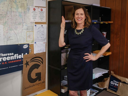 Theresa Greenfield, a Democratic candidate for Iowa's 3rd congressional district, in her Windsor Heights office on Tuesday, March 20, 2018.