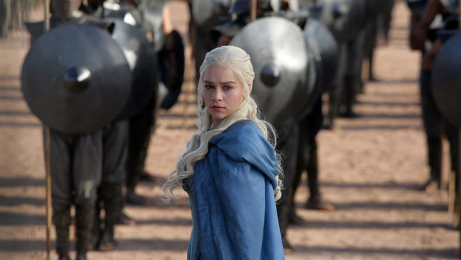 Emilia Clarke as Daenerys Targaryen in a scene from HBO's Game of Thrones.