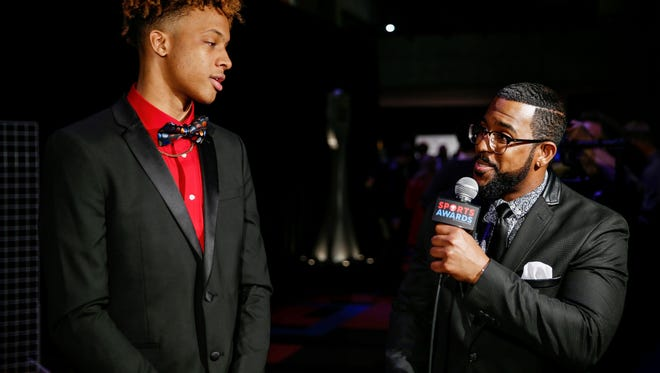 Justin Mack interviews Romeo Langford, of New Albany, who won the Mr. Basketball award during IndyStar's third annual Indiana Sports Awards held at Butler's Clowes Memorial Hall on Sunday, April 29, 2018.