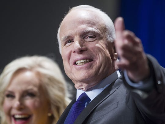 Sen. John McCain gives a victory speech to supporters