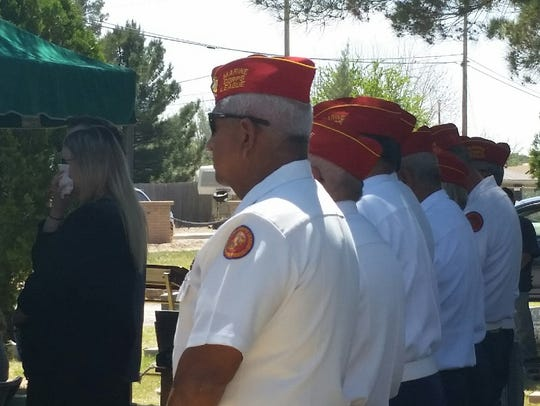 """El Perro Diablo Marine Corps League Detachment No. 478 members attend the funeral of Margaret """"Peggy"""" Petrowsky on Wednesday, April 18, 2018  at Masonic Cemetery in Las Cruces. Petrowsky, along with her late husband, ran the Toys for Tots toy drive for more than two decades in Las Cruces."""