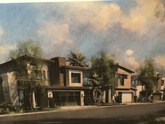 An architect's rendering of the homes proposed for