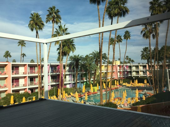 The view of The Saguaro Hotel's grounds and pool from the soon to finished outdoor terrace, which is an extension of the second-story Sago Ballroom.