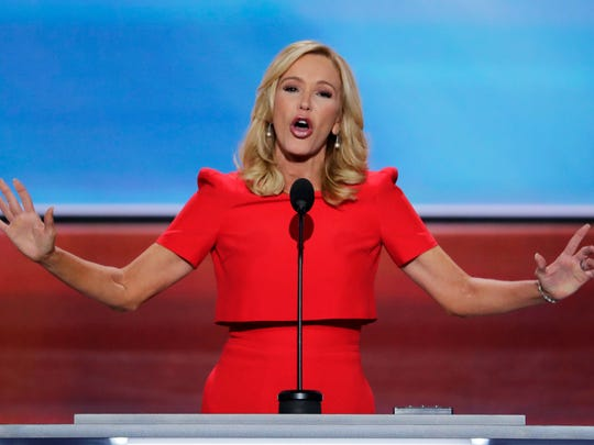 Pastor Paula White delivers the benediction at the close of the opening day of the Republican National Convention in Cleveland, Monday, July 18, 2016.