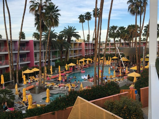 The pool area at The Saguaro Palm Springs is a perfect