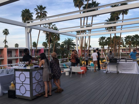 The Saguaro Palm Springs has added a new elevated 1,175-square-foot terrace off of its newly remodeled Sago Ballroom. The deck, with its motorized retractable awning, is big enough for 75 guests during a casual reception or 40 seated for dinner.