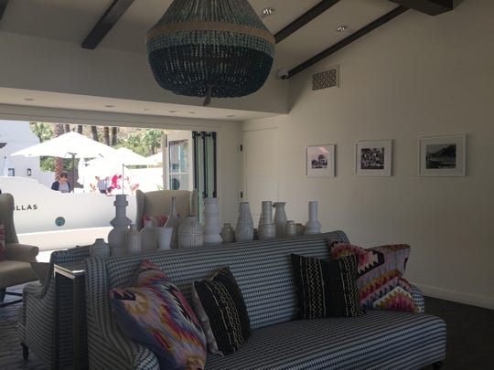 The lobby at La Serena Villas in Palm Springs is open to the Belardo Road on one side and the boutique hotel's pool on the other.