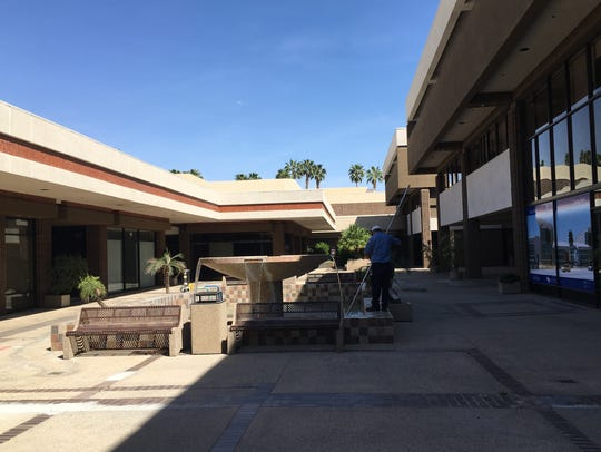 The center courtyard in a collection of office and