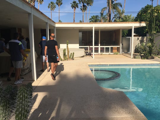 Attendees of the fourth annual Palm Springs Historic Preservation Symposium on Sunday tour a 1958 Donald Wexler designed home on Driftwood Street in the Deepwell neighborhood in Palm Springs.