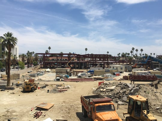 Construction on the downtown Palm Springs redevelopment site continues to progress. The city is planning a September block-party to mark the project's completion.