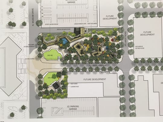 A third scheme for the downtown Palm Springs park is more intimate, with a richer plant palette.