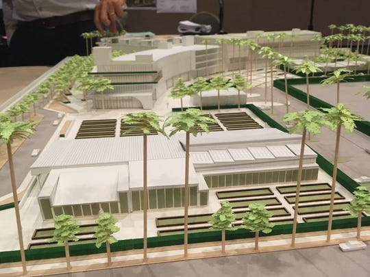 "A model of the proposed 171-room Dream Hotel in Palm Springs. In the foreground are raised planting areas and a ""farmhouse"" to serve as a special event space and greenhouse."