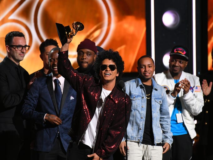 Bruno Mars accepts Album Of The Year for 24K Magic