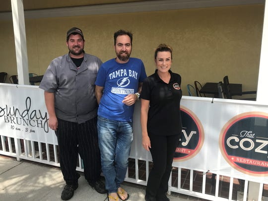 The management team at That Cozy Restaurant, which opened recently in Suntree, includes executive chef Jeff Gross, owner Richard Canale Parola and front-of-house manager Brandi Kilgallon.