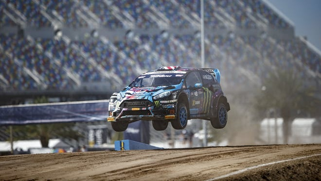 Ken Block competes at Red Bull Global Rallycross in Daytona Beach, Fla., on June 19, 2015.