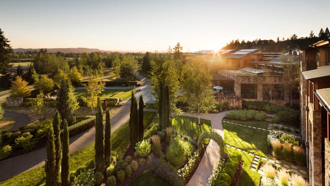 The Allison Inn & Spa is a luxury resort in Newberg where guests drive past seven scenic acres of estate vineyards as they enter the property.