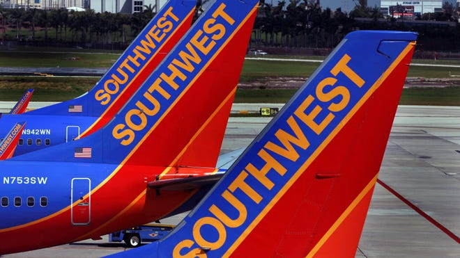 Southwest Airlines jets in Fort Lauderdale on Sept. 27, 2010.