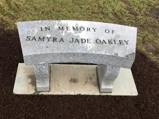 A memorial for Samyra Oakley.