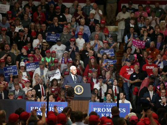 Vice President Mike Pence speaks during a rally that