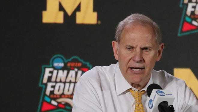 John Beilein speaks to the media after Michigan's 69-57 victory over Loyola-Chicago in the national semifinal Saturday, March 31, 2018, at the Alamodome in San Antonio.