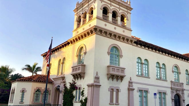 Sunlight glows on Palm Beach Town Hall.