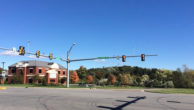 The intersection of Lew Dewitt Boulevard and Sheppard Court near the Frontier Bank where a new connector road may go in, linking to Rosser Avenue in Waynesboro, Va.