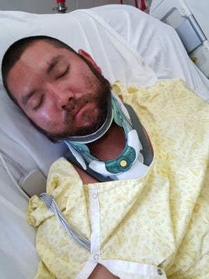 Steven Richarson in the hospital following an April 7 hit-and-run.