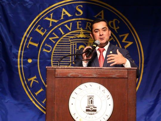 State Rep. J.M. Lozano speaks during the groundbreaking