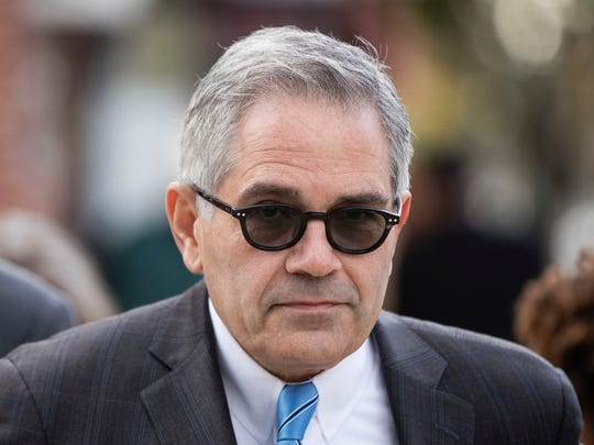 Democratic nominee for Philadelphia district attorney Larry Krasner walks from his polling place after voting in Philadelphia, Tuesday, Nov. 7, 2017.