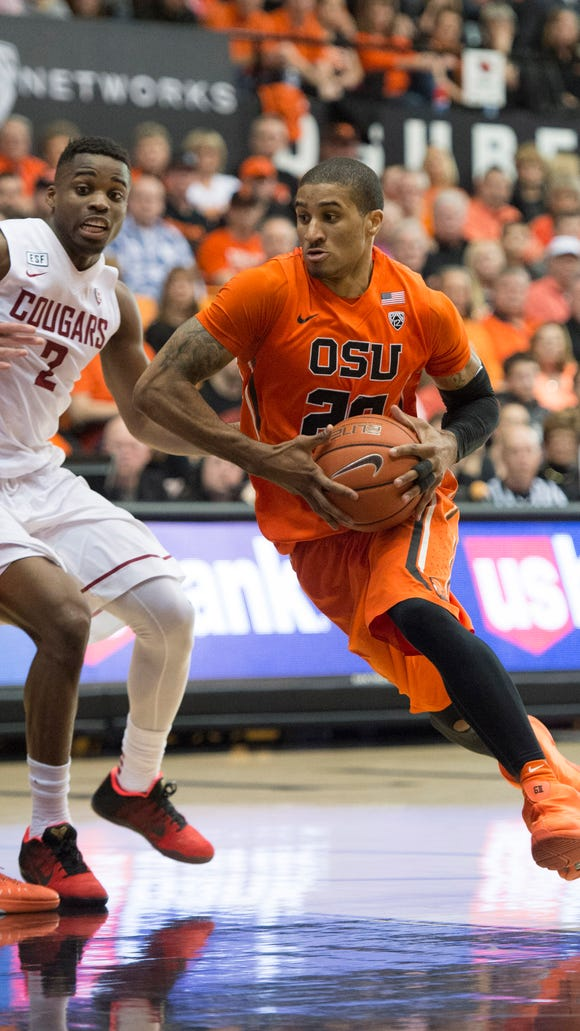 Feb 28, 2016; Corvallis, OR, USA; Oregon State guard Gary Payton II (20) drives to the basket during the second half in a game against the Washington State Cougars at Gill Coliseum. The Beavers won 69-49.