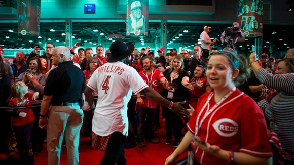 Brandon Phillips, Reds second baseman, greets fans