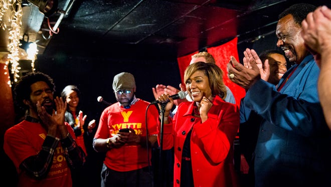 Cincinnati City Councilwoman Yvette Simpson celebrates winning the mayoral primary Tuesday, May 2, 2017 at her watch party at The Greenwich in Walnut Hills.