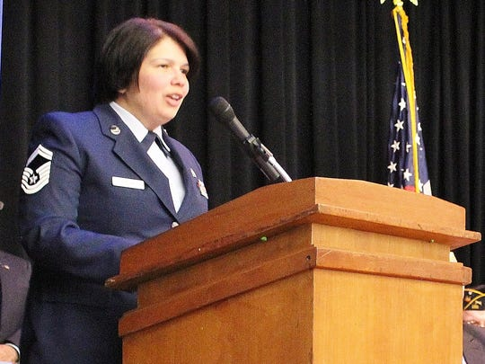 Senior Master Sgt. Luisita Jordan of the United States Air Force gave the keynote speech during Friday night's Veterans Day program at the Hammonton Middle School.